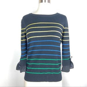 New MAISON JULES sweater Small black stripe bow